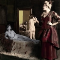 A tinted sketch of the 1850's photoshoot scene from the Olympia brothel