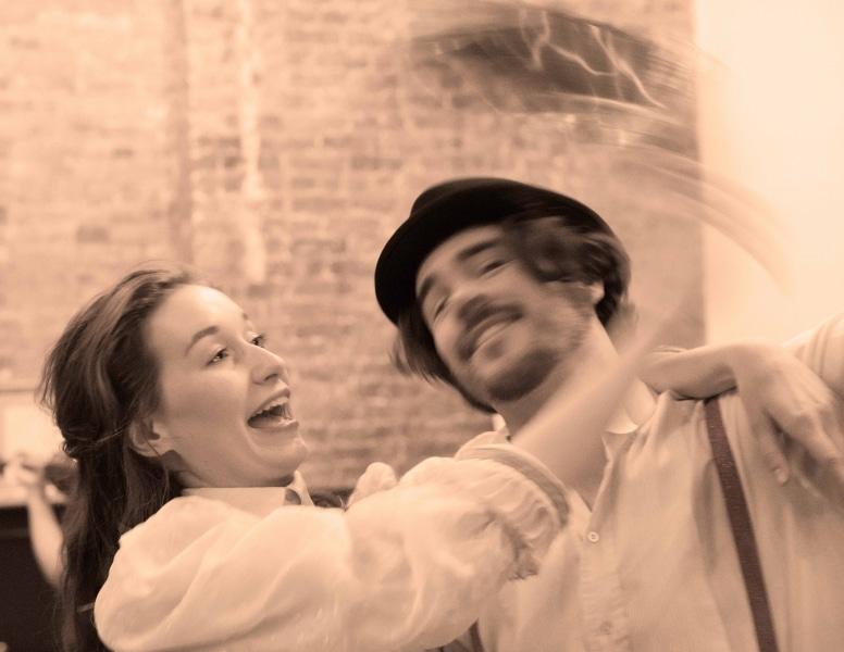 Emma Gutt as a Scarlet Woman and John Paul Harkins as Emile Zola