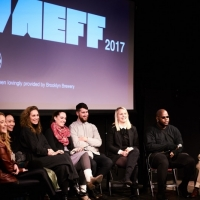 Ana Valdés, Sarah Kershaw, Miao Hao, Maria Burns, Rotem Weiner, William Bentley, Tamara Hansen, and Daveion Thompson talk with Mark Alpert during the artist and filmmaker discussion.