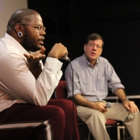 """Daveion Thompson and Mark Alpert during the Friday Night """"Fashion Film - The New Wave"""" Q&A at Tribeca Film Center."""