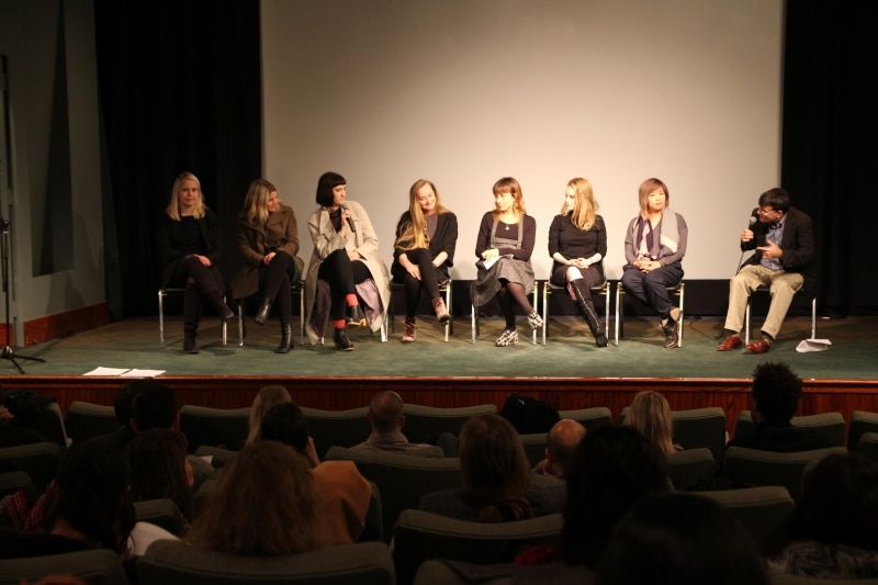 Tamara Hansen, Alison Folland and Jenny Plante, Sarah Kershaw, Jèss Monterde (representing Alan Masferrer), Ana Valdés, and Alisa Yang discuss their films with moderator Mark Alpert.