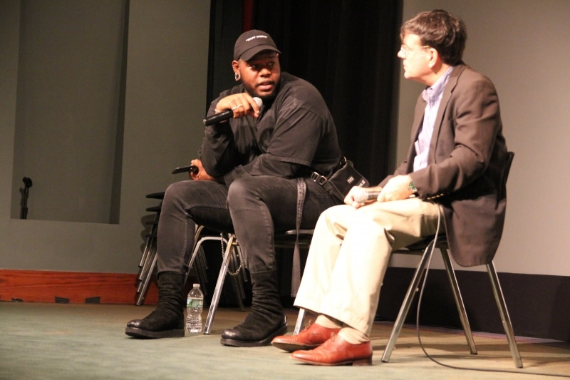 "Daveion Thompson and Mark Alpert during the Friday Night ""Fashion Film - The New Wave"" Q&A at Tribeca Film Center."