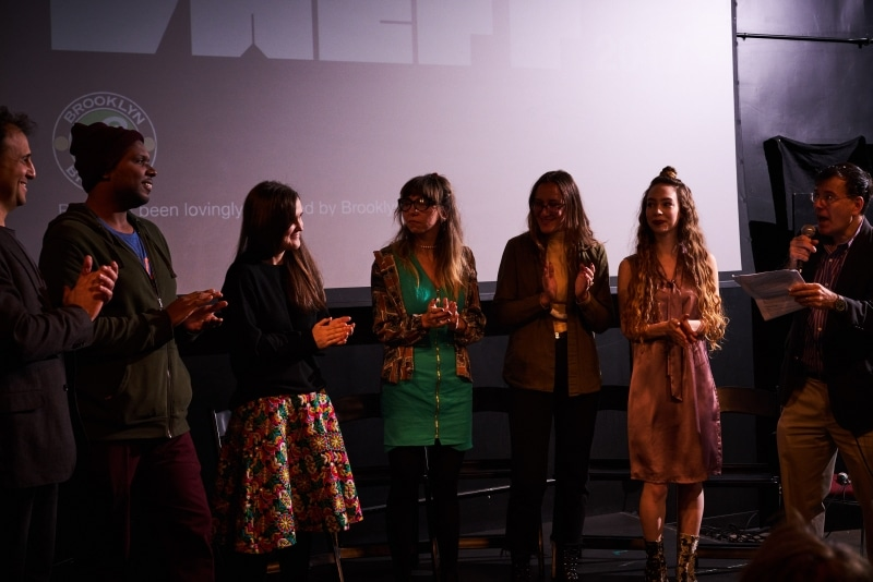 Festival Director Dan Fine and team members Ellison Williams, Carolina Mandia, Gina Ginsberg, Claire Felonis, Festival Coordinator Sarah Telesca, and moderator Mark Alpert take to the stage one last time to introduce the final night of VAEFF 2017.