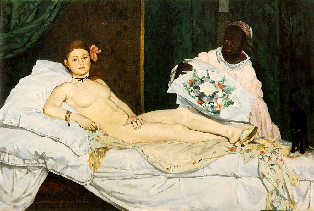 Edouard Manet's painting Olympia that is hung in the Salon of Paris in 1865, Olympia's confrontational gaze caused shock and astonishment when the painting was first exhibited because a number of details in the picture identified her as a prostitute