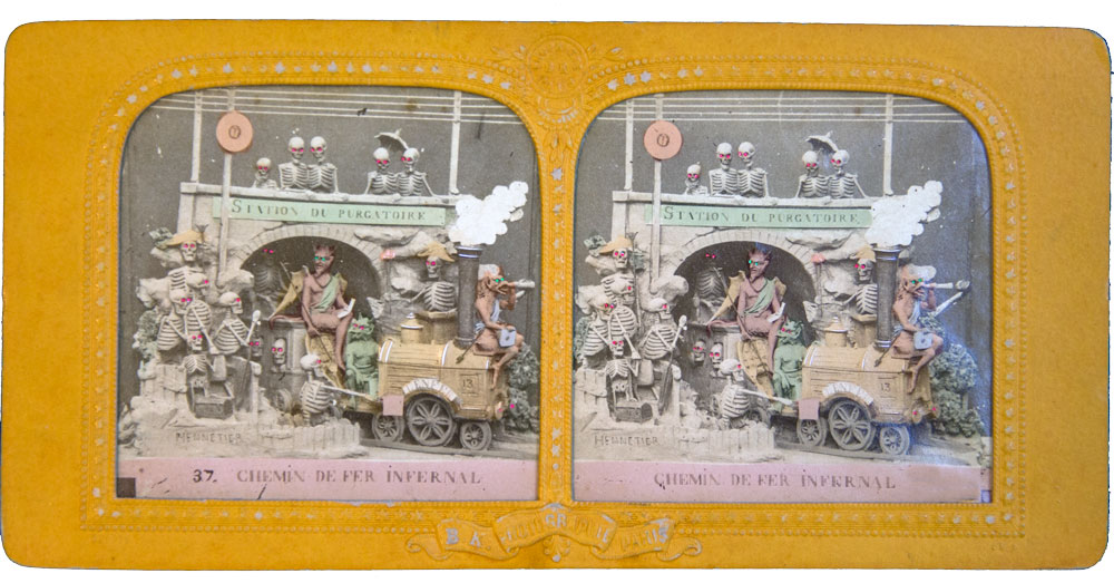 DIABLERIE TISSUE STEREOVIEW HTL 1870 INFERNAL RAILWAY Purgatory Devils Skeletons - Olympia Project Collection