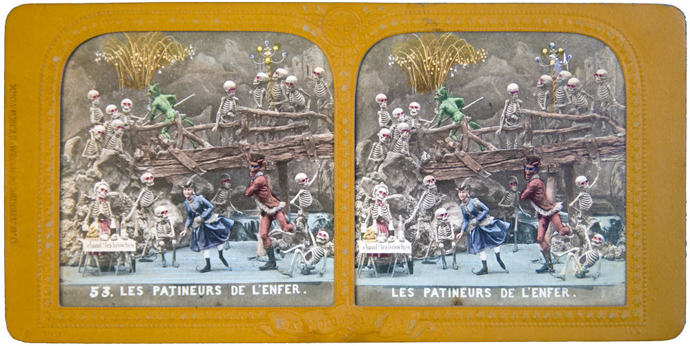 DIABLERIE TISSUE STEREOVIEW HTL Ca1870 SKATERS From HELL! Devils & Skeletons - Olympia Project Collection