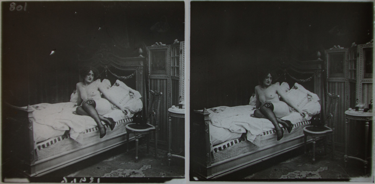 Lady Of The Night 1905 Stereoscopic Glass Plate Positives - Olympia Project Collection
