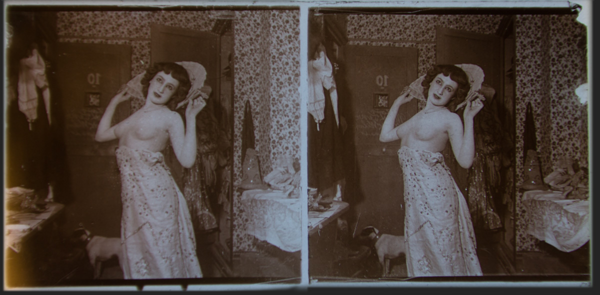 Scarlet Woman Dressing 1905 Stereoscopic Glass Plate Positives - Olympia Project Collection