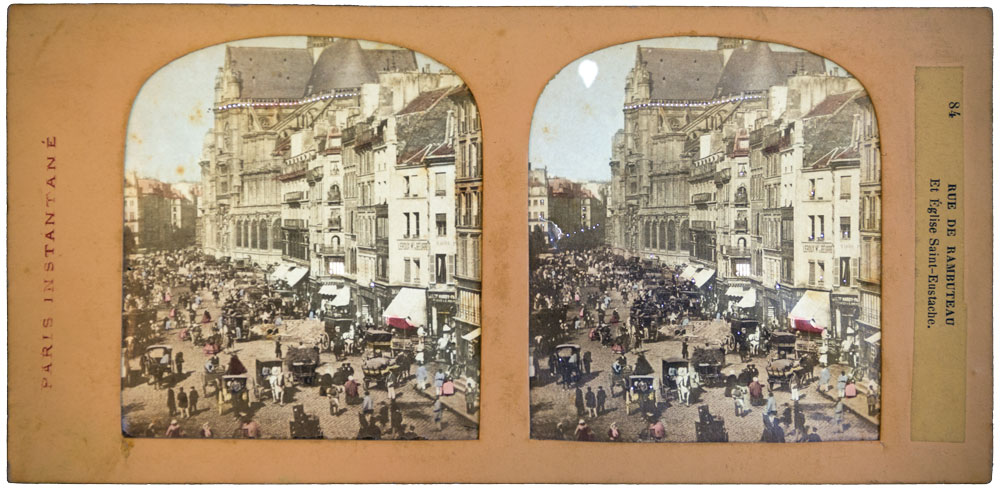 Tissue Stereoview  1870 Photo Cdii Rue De Rambuteau Paris Instantane France 84 - Olympia Project Collection